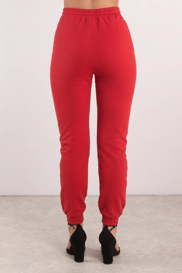 6d8030e3102de8 Red Pants - Tight Joggers - Red High Waisted Pants - French Terry ...