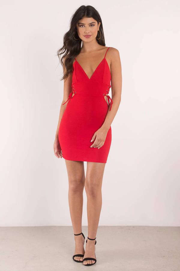 17b48f435b48 Sexy Bodycon Dress - Lace Up Dress - V Neck Dress - Red Dress - S ...