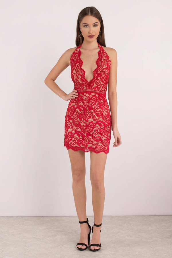 323949ca49d Red Bodycon Dress - Caged Bodycon Dress - Red Lace Up Dress -  15 ...