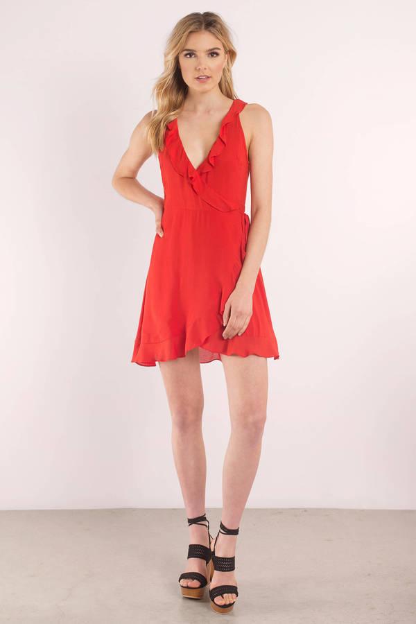 Cute Red Dress - Ruffled Dress - Red Ruffle Dress - Wrap Dress - £71
