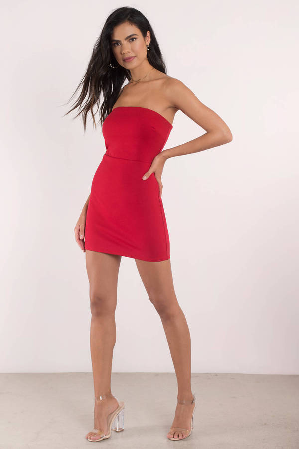 4c22f8e2d880 Cute Dress - Strapless Dress - Open Back - Red Bodycon Dress - £18 ...