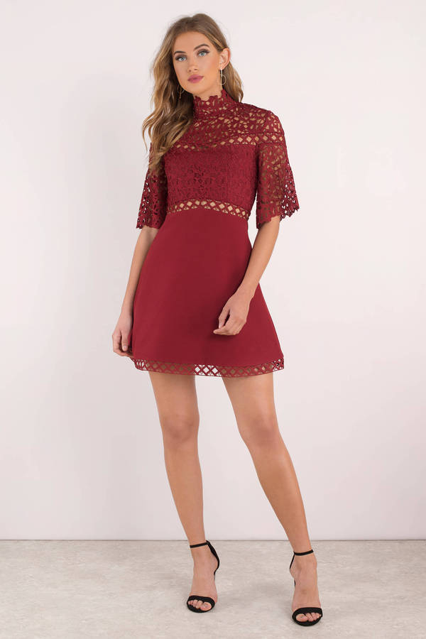 095d04c11e5d Chic Red Skater Dress - Red Lace Formal Dress - Classic Red Dress ...