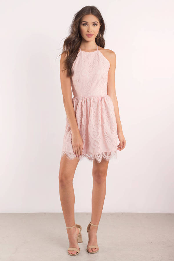 b2d5d6ee53e9 Cute Rose Dress - Lace Dress - Pink Flare Dress - Skater Dress -  31 ...