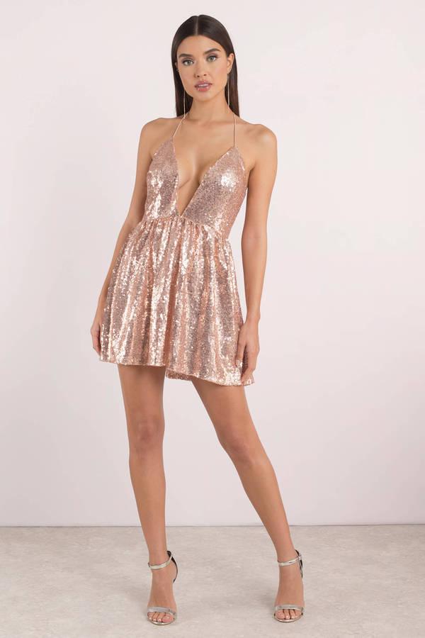 Avery Rose Gold Sequin Dress - $48   Tobi US