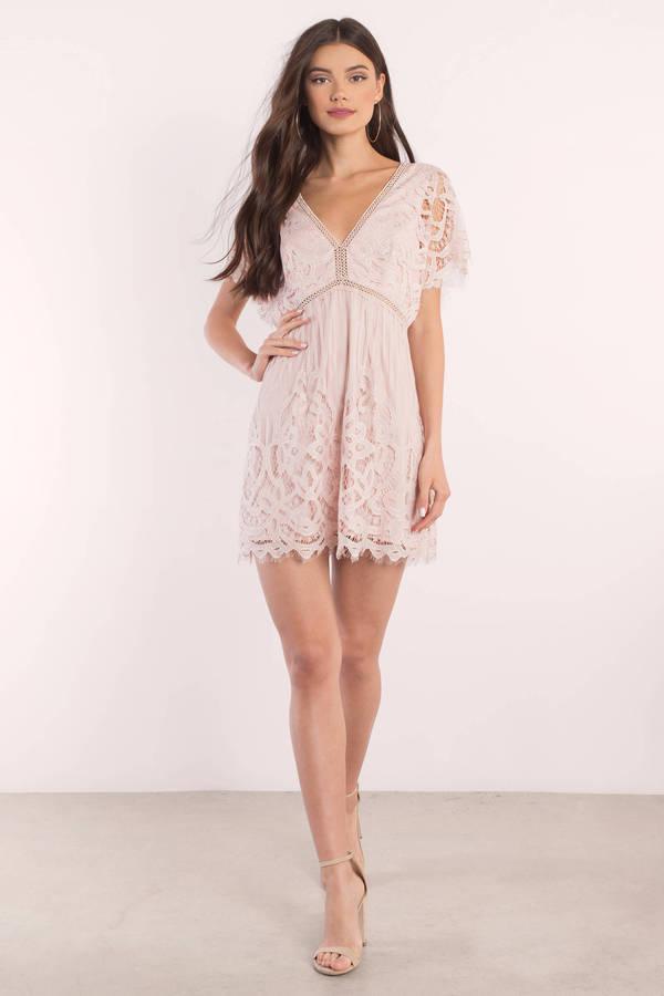 Dark pink lace skater dress