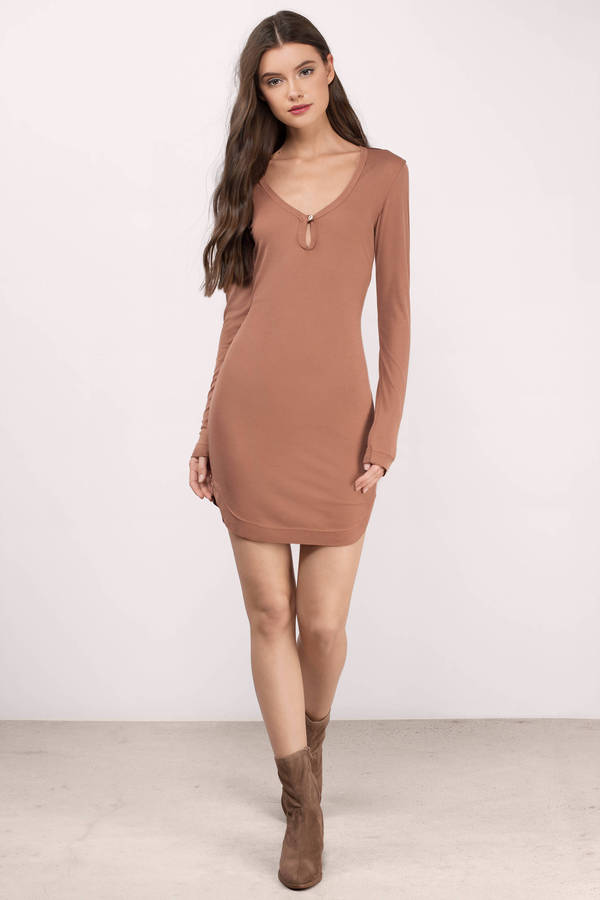Rust Day Dress - Orange Dress - Long Sleeve Dress - $22.00