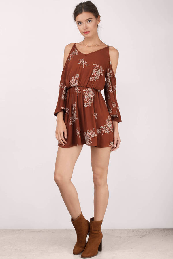 7e123114b76 Cute Rust Shift Dress - Cold Shoulder Dress - AU  57