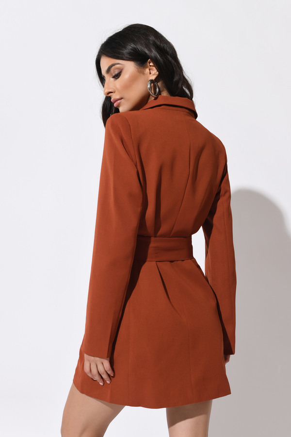 8a49f8e1fcd64 Red Blazer Dress - Belted Dress - Red Double Breasted Dress - C$ 60 ...
