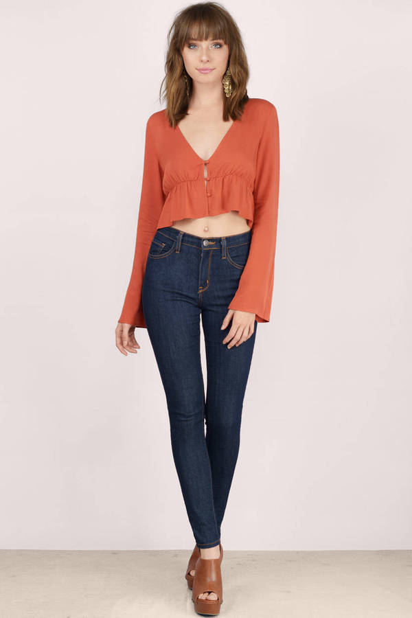 bc6ba0b2138 Cute Rust Crop Top - Red Top - Bell Sleeve Top - Rust Crop Top - $10 ...