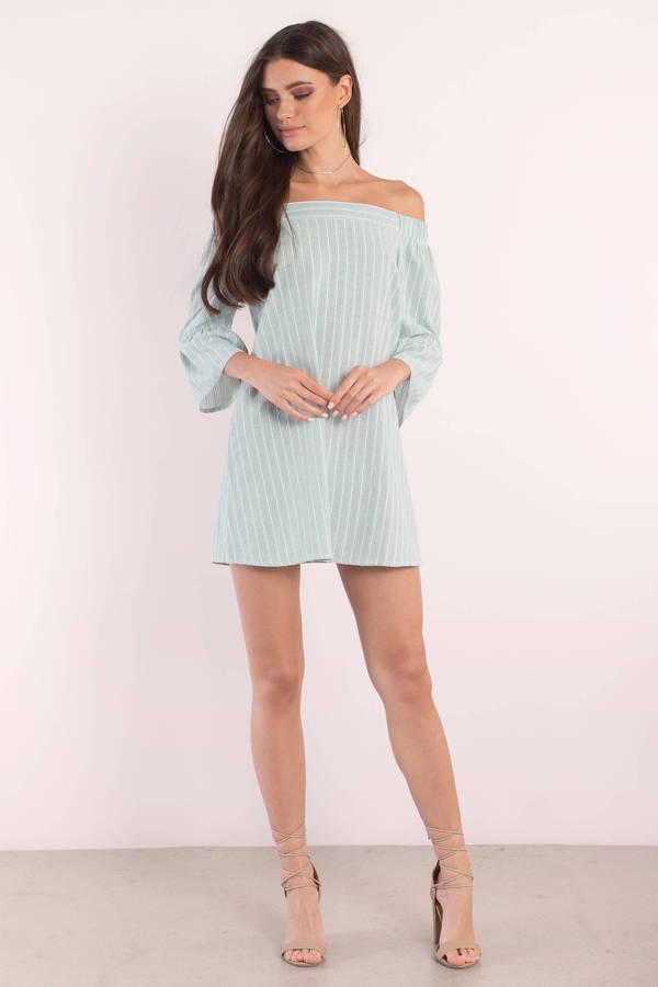d51436daf6 Light Blue Dress - Off Shoulder Dress - Blue Smock Dress - Shift ...