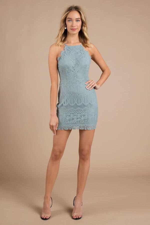 6f9eae153578f Blue Bodycon Dress - High Neck Lace Dress - Blue Halter Dress -  26 ...