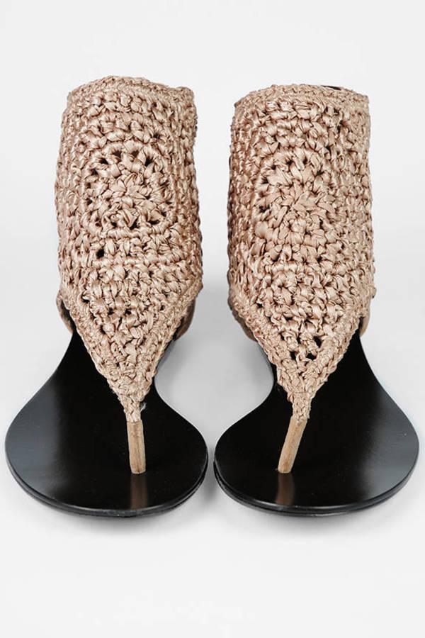 2f2c4ef42727f Tan Elizabeth And James Sandals - Flat Sandals - Tan Crochet Sandals ...