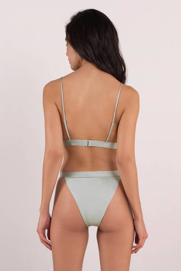 70c88db1e08f2 Sexy Silver Bikini Bottom - High Waist Thong Bikini - Silver Strap ...