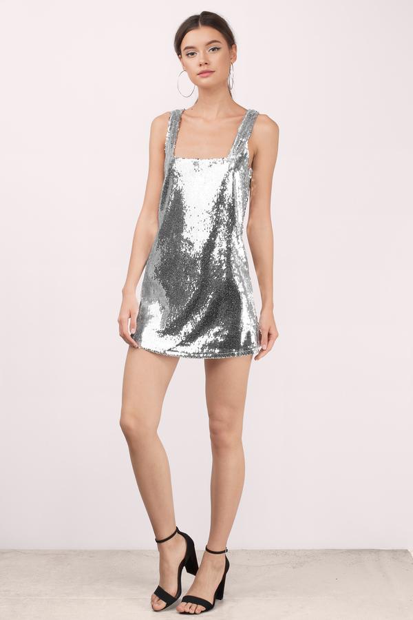 Cute Silver Shift Dress - Silver Dress - Sequin Dress - $13.00
