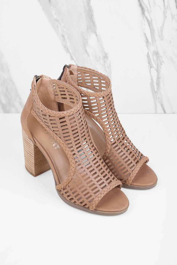a3e3bf4e219 Tan Heels - Peep Toe Heels - Lattice Heels -  38