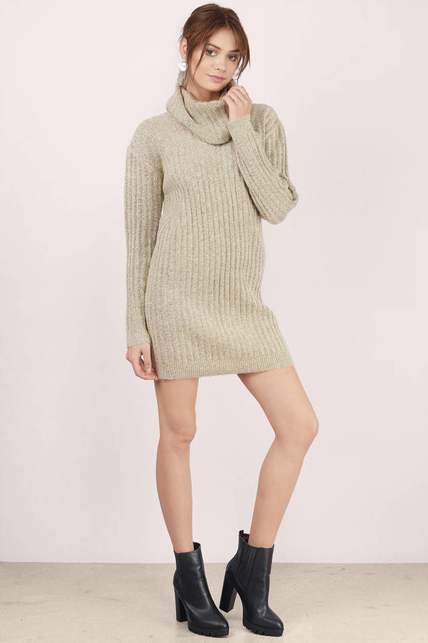 8892410e80 Cute Taupe Day Dress - Taupe Dress - Cowl Neck Dress - Day Dress ...