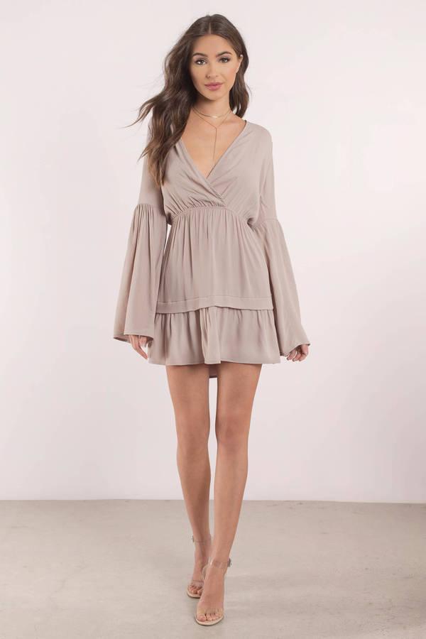 f10995943b Sexy Beige Skater Dress - Bell Sleeve Dress - Beige Skater Dress ...
