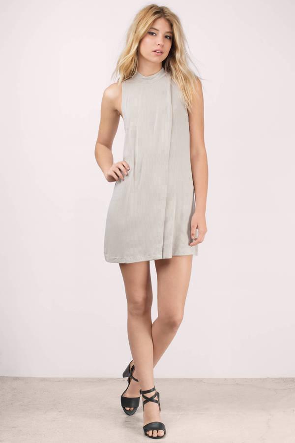 3a60944202 Taupe Shift Dress - Beige Dress - Mock Neck Dress - C  86