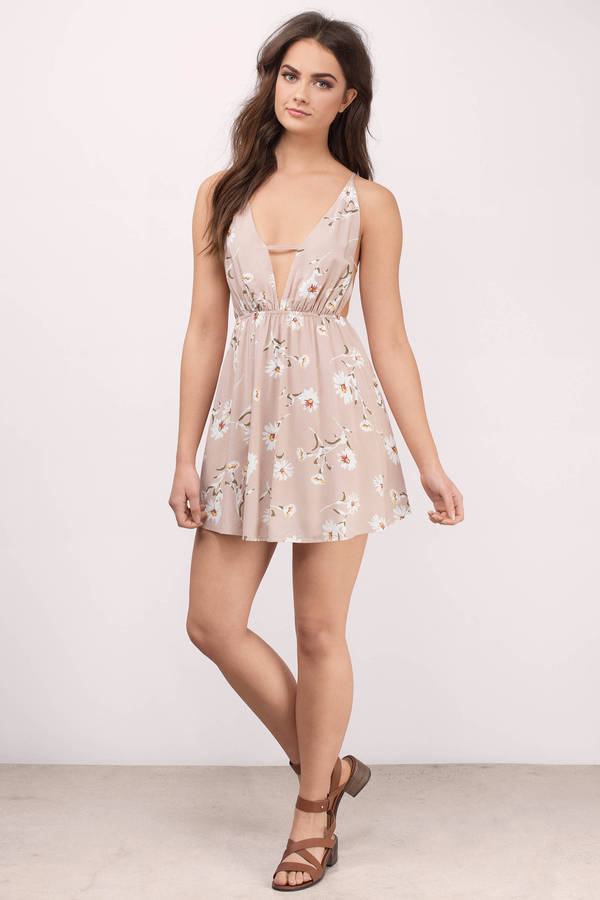 Cute Taupe Multi Skater Dress - Plunging Dress - $64.00