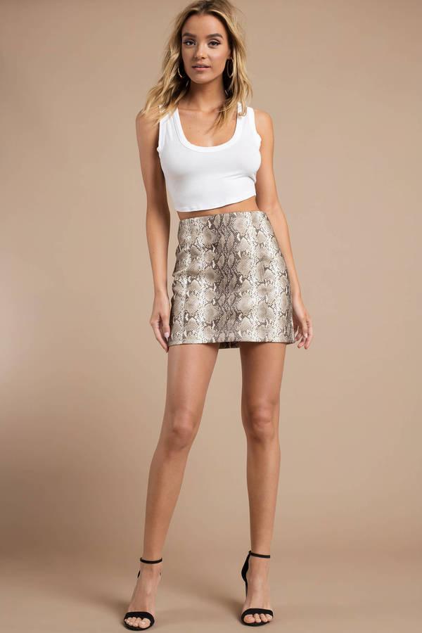 03ddf81b6f94 Beige Skirt - Pencil Mini Skirt - Beige Snakeskin Print Skirt - $66 ...