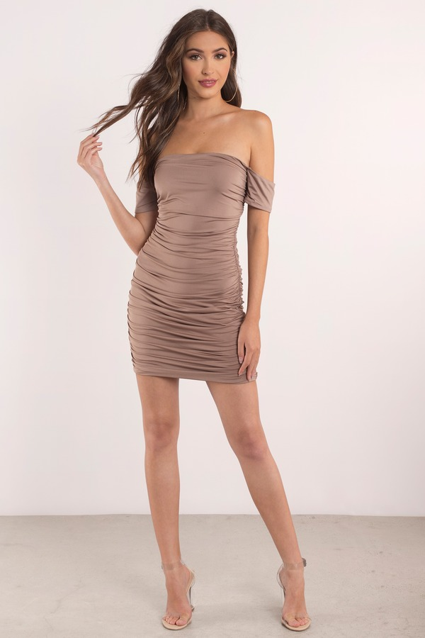 Cute Taupe Bodycon Dress - Off Shoulder Dress - Bodycon Dress ...