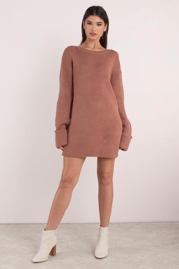 Beroemd Cute Terracotta Dress - Long Sleeve Dress - Cuffed Sleeve Dress @UG82