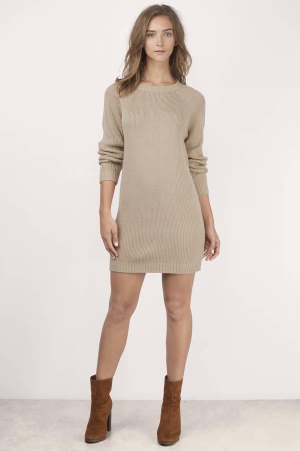 79de97ff02d Beige Sweater Dress - Long Sleeve Sweater Dress - Crew Neck Sweater ...