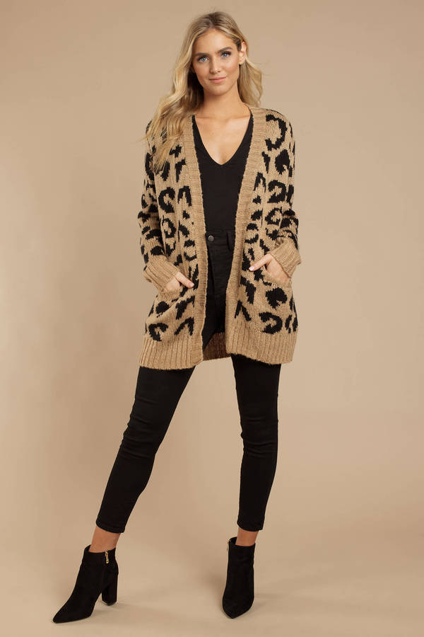 e2278eaa29b9 Beige Cardigan - Leopard Print Cardigan - Beige Animal Print ...