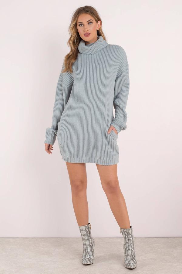 Vintage Blue Sequin Shoulder Sweater Dress size L