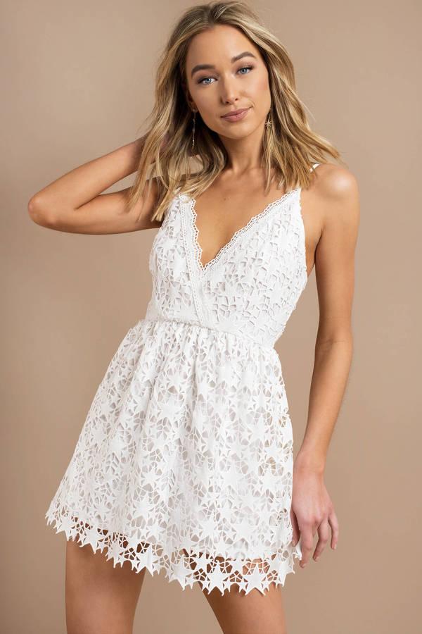 White Skater Dress - Going Out Dress - White Spaghetti Strap Dress ... 22f04e1a2