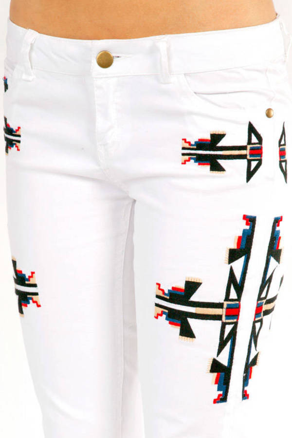 Aztec Embroidered Denim Pants