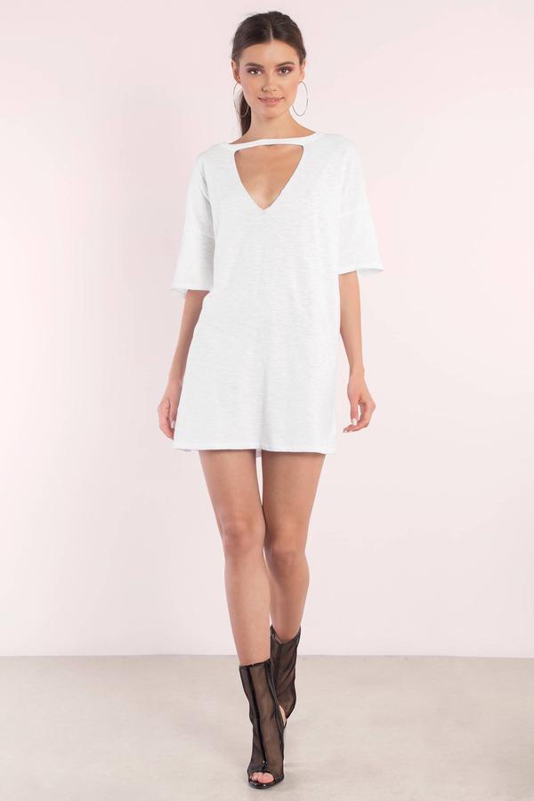 51df2bc9e66 White Shirt Dress - Choker Dress - Jersey Trapeze Dress - Day Dress ...