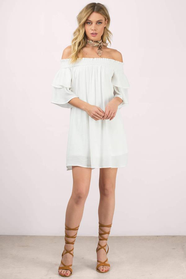 Bianca White Off Shoulder Shift Dress - $64.00   Tobi