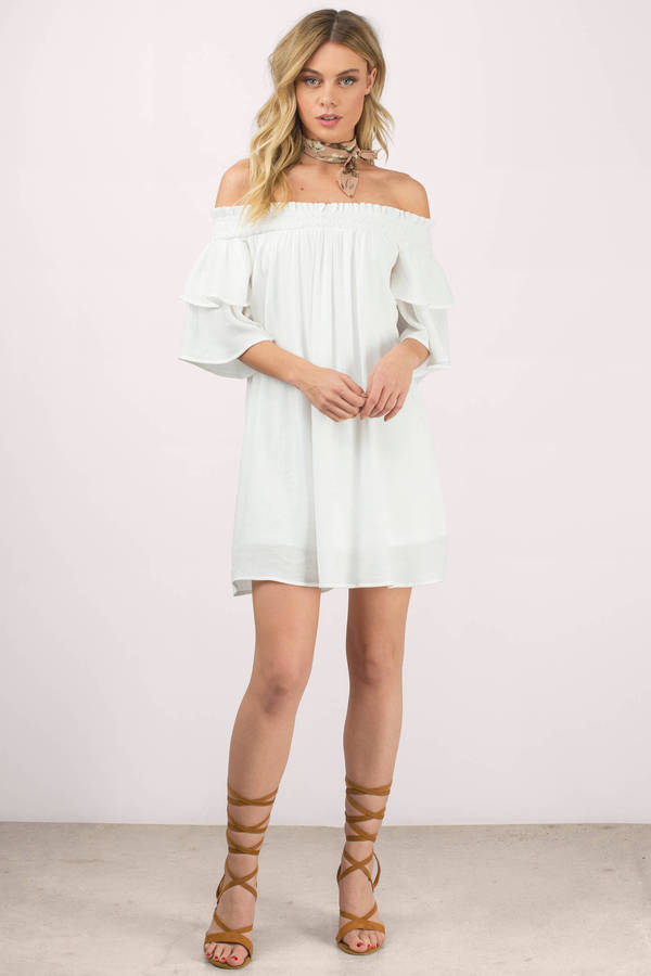 51d7a4c61306 White Shift Dress - Off Shoulder Dress - Hippie White Dress - Day ...