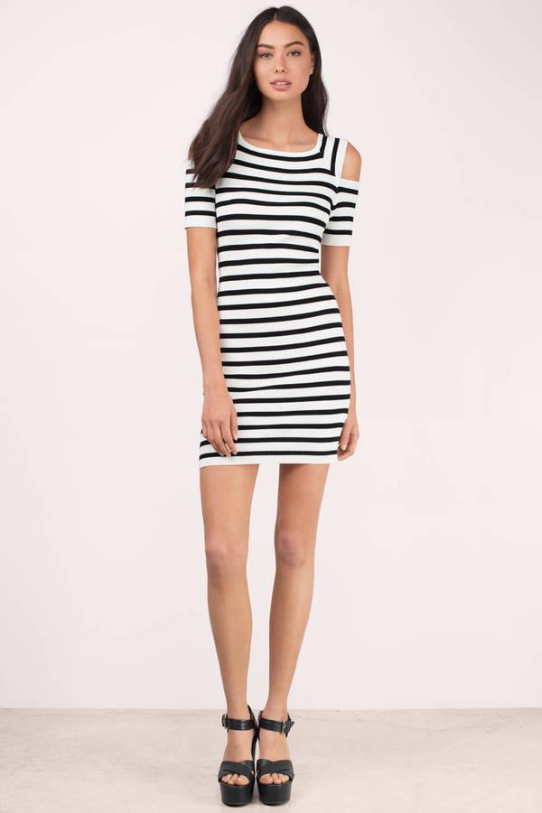 ce418ba711a7af White   Black Bodycon Dress - Cold Shoulder Dress - Bodycon Dress ...