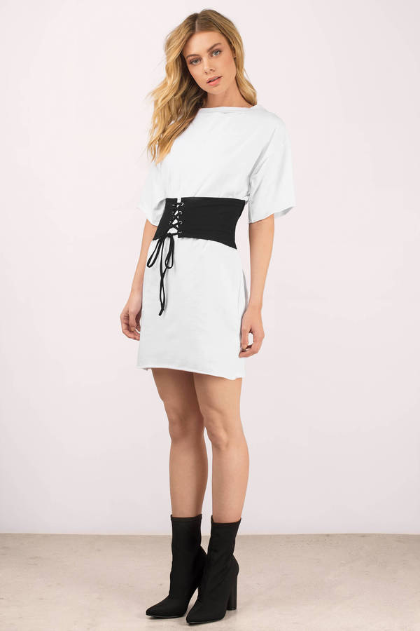 d61a76f86731 White Casual Dress - Corset Dress - White T Shirt Dress -  18