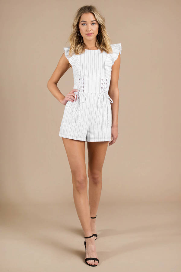 55544930262 ... J.O.A. Joa Love Affair White   Black Corset Romper
