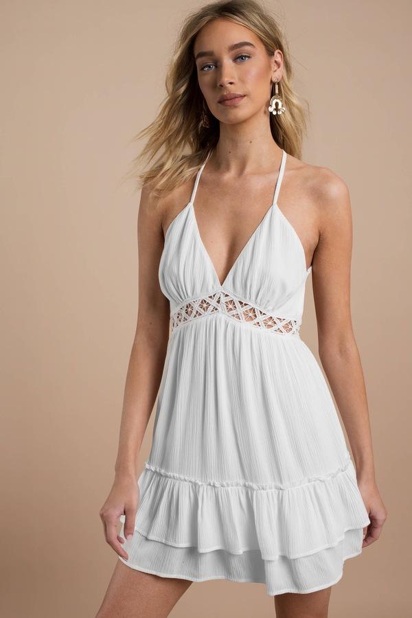 912308c43ecc Trendy White Day Dress - Graduation Dress - White Lace Insert Skater ...