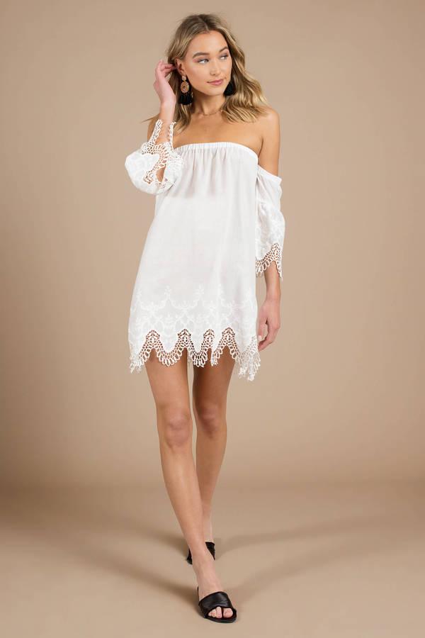 d5cd19dac05 White Minkpink Shift Dress - Lace Sundress - White Eyelet Dress - AU ...