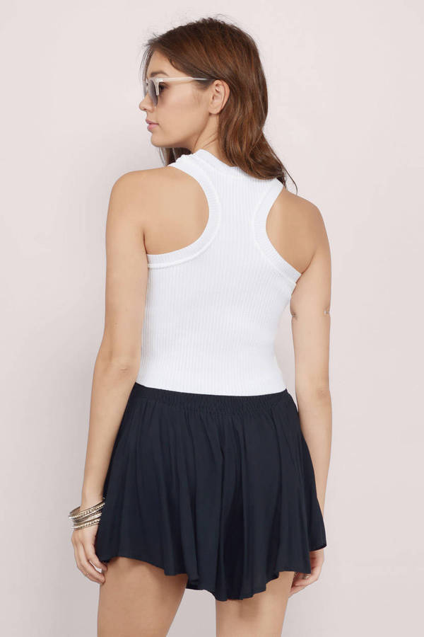 9b286886196 White Crop Top - Racer Top - Sleeveless Crop Top - White Top - £8 ...