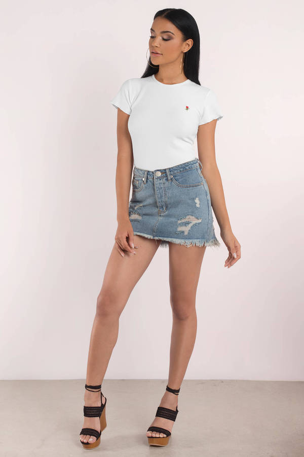 81975b332c3 White Tee - Skinny Rib - Lettuce Hem Shirt - White Rose Graphic Tee ...