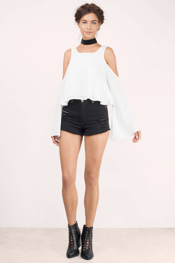 White Blouse - Cold Shoulder Blouse - Long Sleeve Blouse - White Top ...