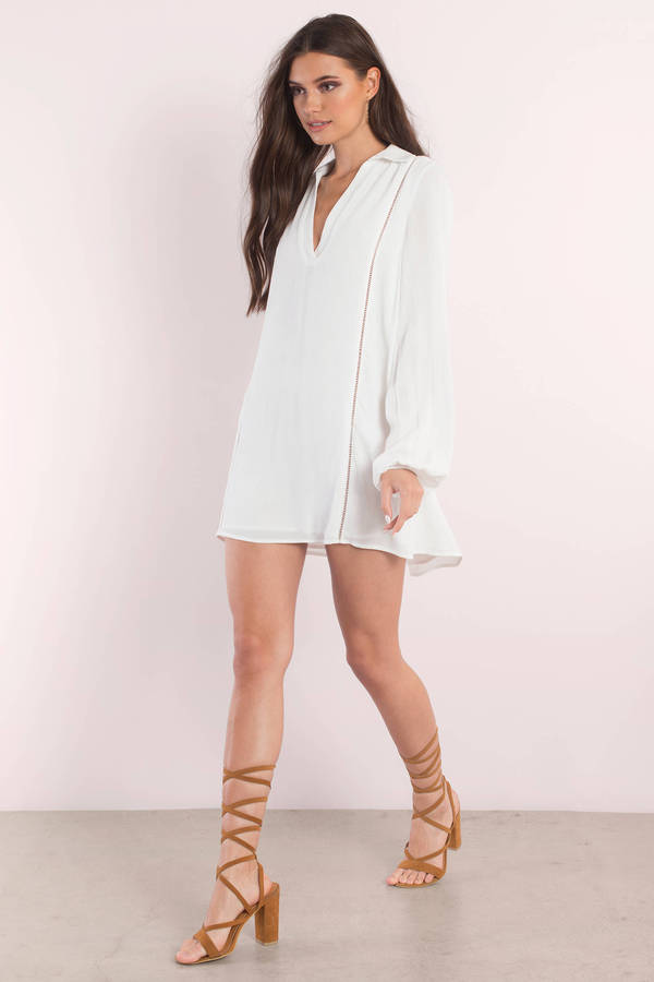 White Dress - Long Sleeve Dress - White Kaftan Dress - Day Dress ...