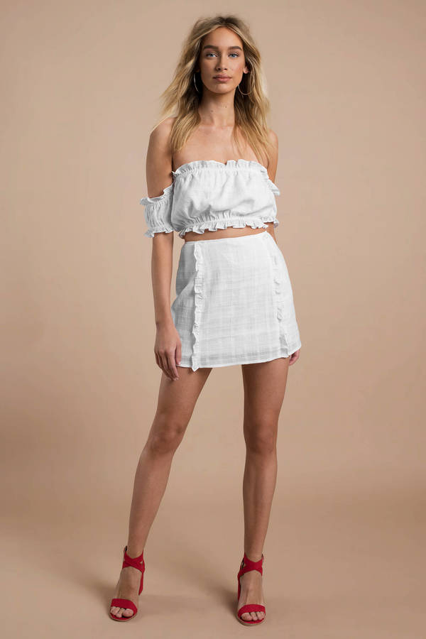 be3b4604b8 White Skirt - Grid Print Mini Skirt - White Ruffle Skirt - NZ$ 32 ...