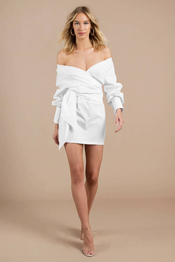9f3989b7e7 White Wrap Dress - Long Sleeve Dress - White Bardot Skater Dress ...