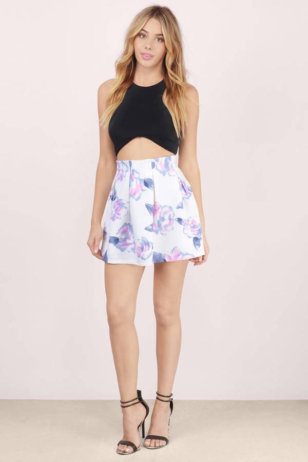 Trendy White Floral Skirt - White Skirt - Floral Skirt - $11.00