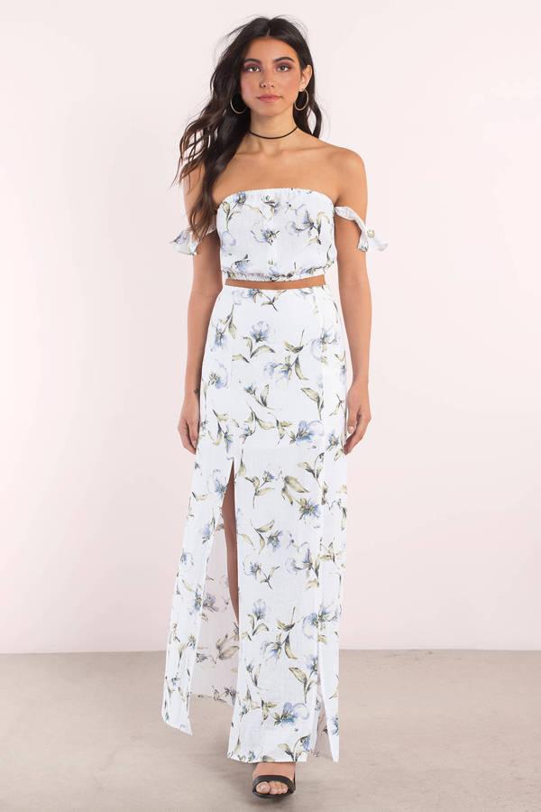 Cute White Floral Crop Top Off Shoulder Top Multi Top 13