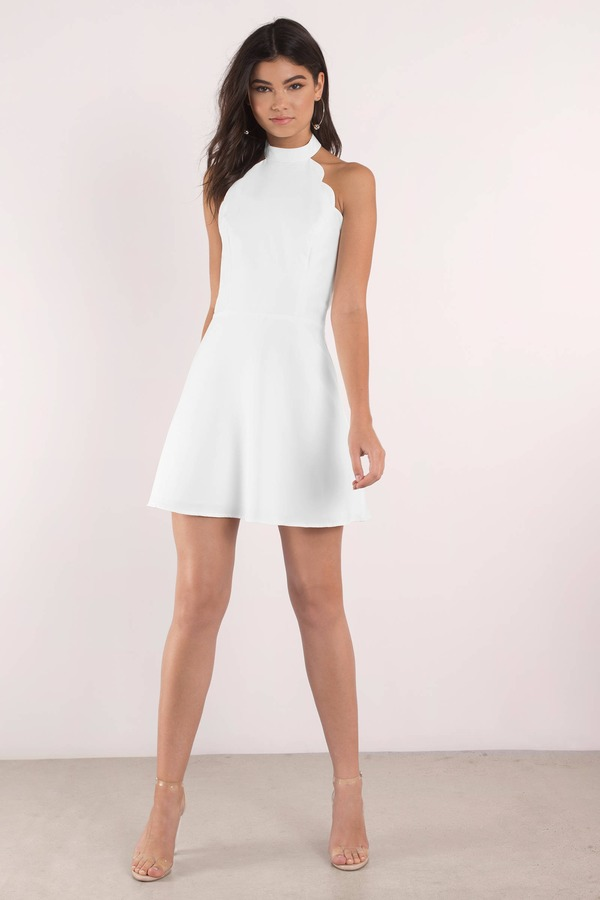 18309d53925 Sexy White Dress - Backless Dress - White Flare Dress - Skater Dress ...