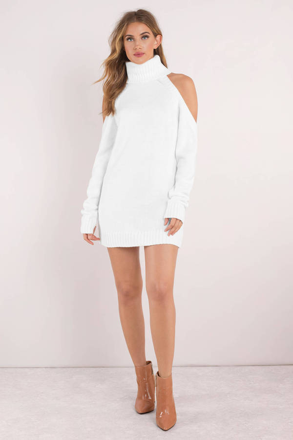 bbaebdcbeb9 White Casual Dress - Turtleneck Dress - White Sweater Dress - £27 ...