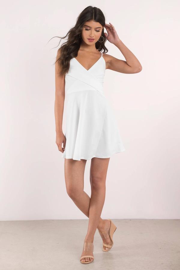 White Skater Dress Surplice Cami Dress Semi Formal White Dress